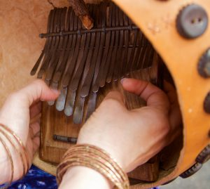 Erica playing katsanzaira tuning mbira