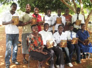 Patience Chaitezvi with her Chinhoyi High School #2 Mbira Students, and mbiras donated by MBIRA, in 2010