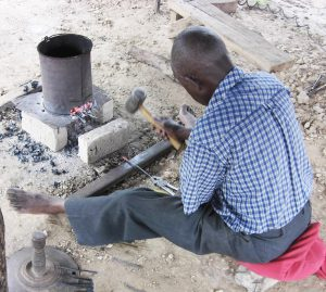 Leonard Chiyanike Making Mbira Keys 2014