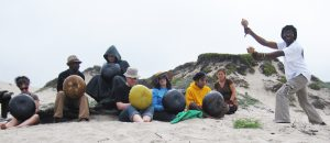 Caution & Renold Shonhai at the beach with Mbira Camp 2010