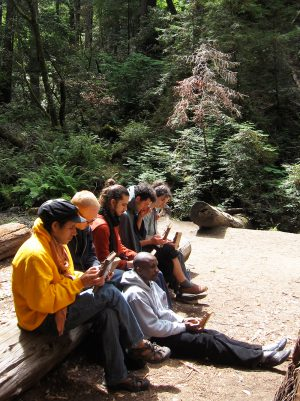Renold Shonhai teaching in the redwoods at Mbira Camp 2010