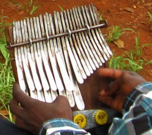 Holding the mbira - mbira by Josephat Mandaza