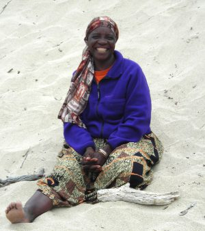 Jenny Muchumi at the beach during Mbira Camp 2008