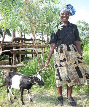 Jenny Muchumi with goat