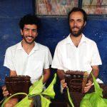 Hernan Gulla & Pablo Paz practicing mbira in Leonard Chiyanike's village